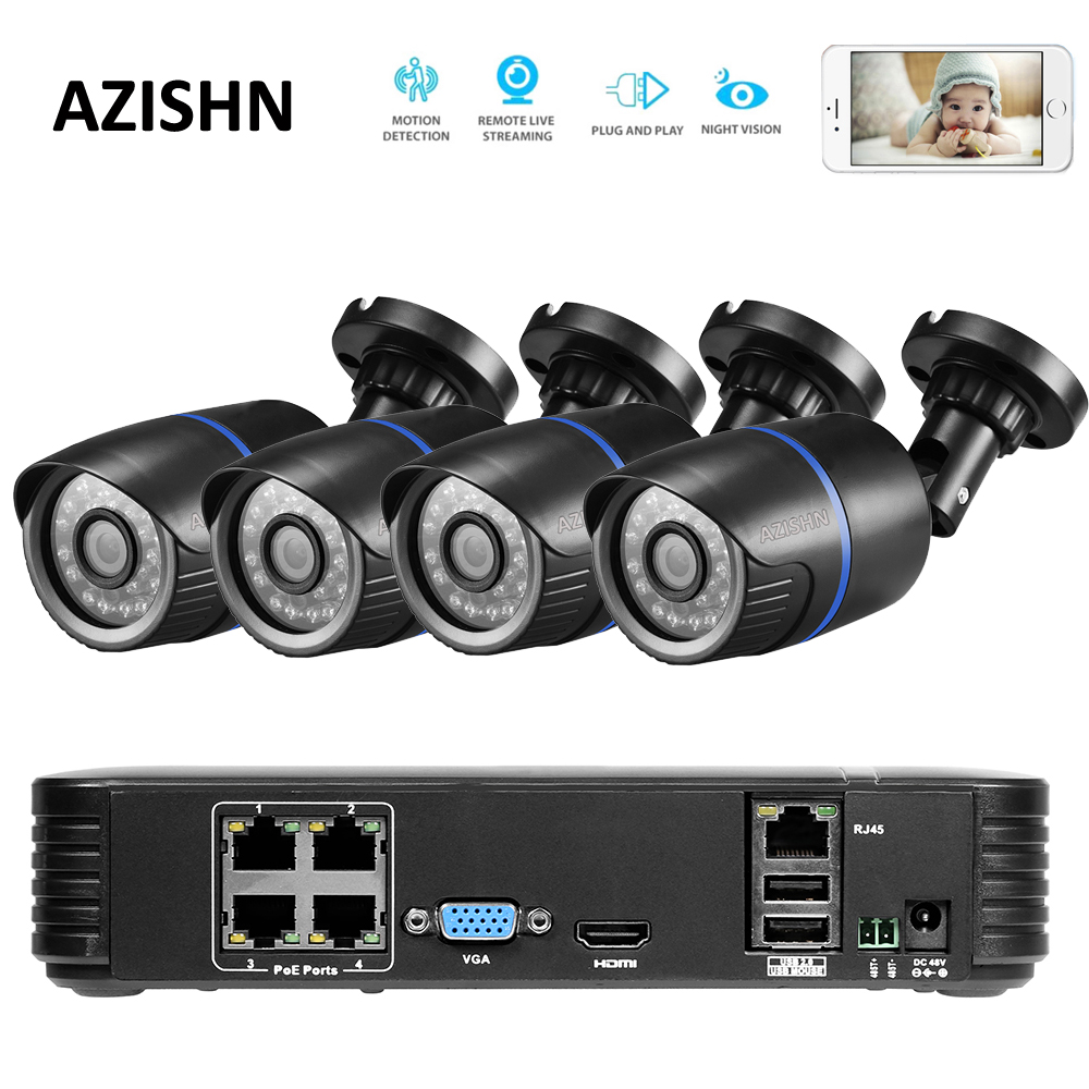 AZISHN 4CH POE 1080P NVR 4pc 1.0mp 48V PoE 720P IP Camera P2P HDMI CCTV System Surveillance IR Night vision outdoor PC&Phone
