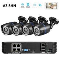 AZISHN 4CH POE 1080P NVR 4pc 1 0mp 48V PoE 720P IP Camera P2P HDMI CCTV