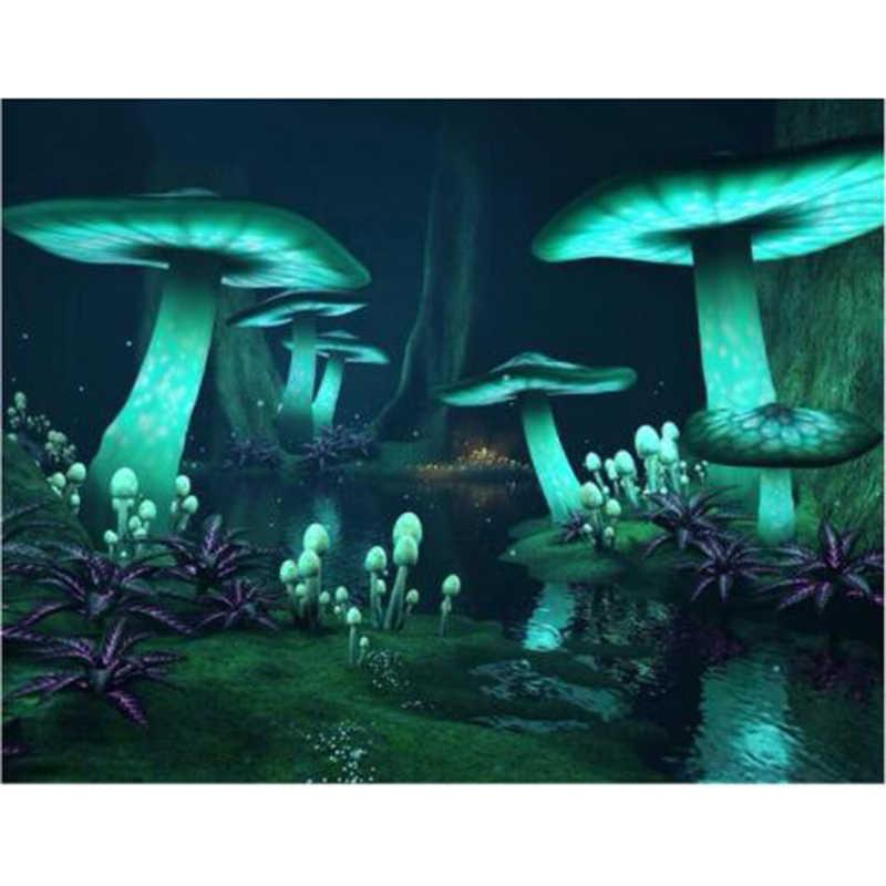 קסם פטריות פנטזיה כהה יער זוהר DIY יהלומי ציור צלב תפר רקמת ריינסטון מלא אבן YY