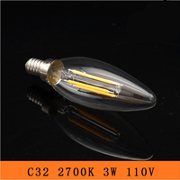 50PCS 3W E12 LED Bulbs ,C32 LED Filament Candle Bulbs 360 Degree Light Lamp Vintage pendant lamps AC110V