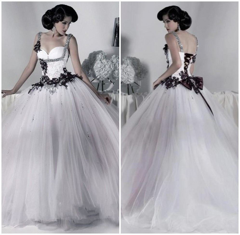 401dd35cbe Victorian Gothic Wedding Dress 2019 Ball Gown Tulle Appliques ...