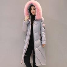 2018 high quality fur collar women long winter coat female warm wadded jacket womens outerwear parka casaco feminino inverno