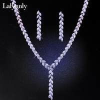 Lalynnly Luxury Cubic Zircon Wedding Jewelry Sets for Brides Long Crystal Earrings Pendant Necklace Women Jewelry Set N61031
