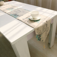 Cotton-Linen Butterfly Table Runner Pastoral Style Table Runners Cover with Houppe Wedding Party Decoration Chemin de table