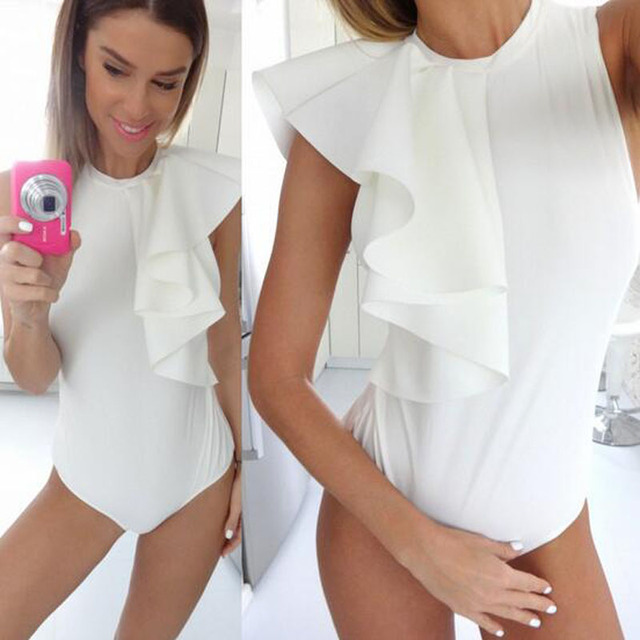 S-QVSIA Brand Overall Women Playsuit Skinny Bodysuits Jumpsuit fashion shoulder sleeve Bodysuit Women Romperss combinaison femme