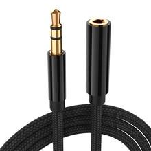 Cabos de extensão de fone de ouvido de áudio, 5m stereo aux 3.5mm mini jack macho para fêmea linha de fone de ouvido para computador celular móvel
