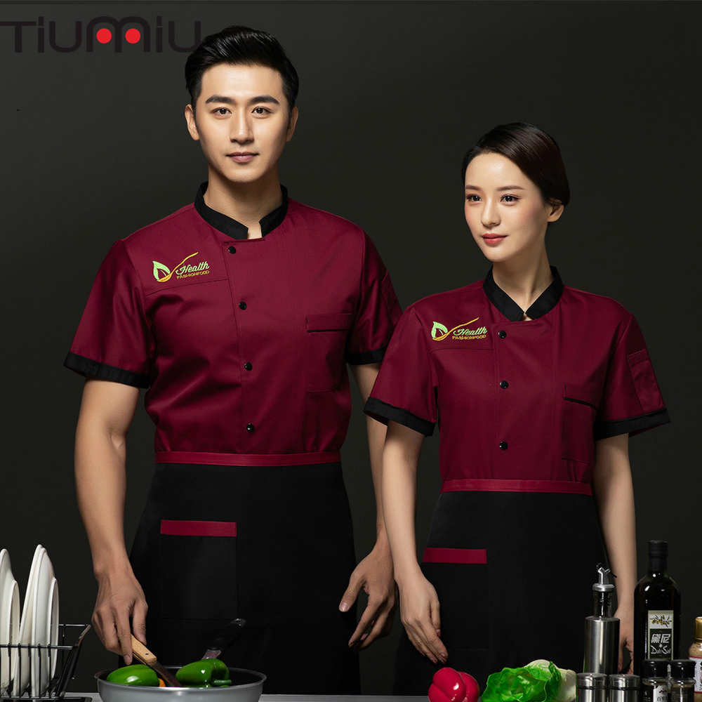 Chef Jacket Embroidered Cook Bake Dessert Kitchen Coffee Waiter Waitress Cafe  Barbershop Summer Diner Canteen Work Clothes
