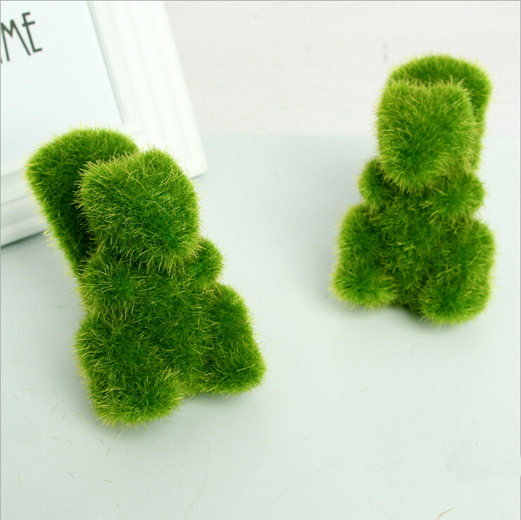 1Piece Rustic Artificial Fresh Moss Balls Decorative Green Plant Home Party Decoration Simulation Pot Squirrel Pattern