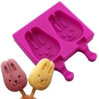 צורת חיה קריקטורה ארנב ארנב חדש 2 חללים עובש ארטיק גלידת סוכרייה סיליקון שוקולד קוביית סוכריות תבניות פופס עוגה