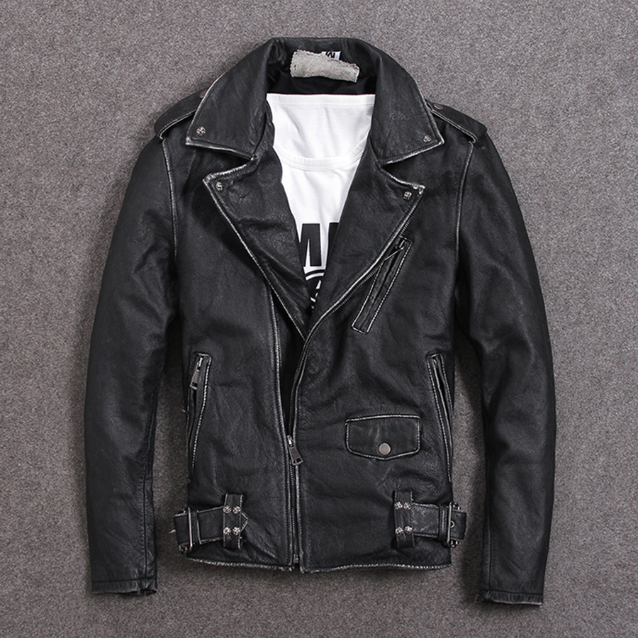 Image 4 - HARLEY DAMSON Vintage Brown Men Slim Fit Biker's Leather Jacket Plus Size XXXXXL Genuine Cowhide Short Motorcycle Leather Coat-in Genuine Leather Coats from Men's Clothing
