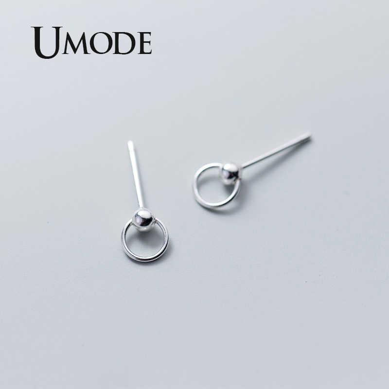 Umode Vrouwen Ronde Echte 925 Sterling Zilveren Oorbellen Kleine Zilveren Studs Oorbellen 925 Koreaanse Stijl Mode Fijne Sieraden ULE0489