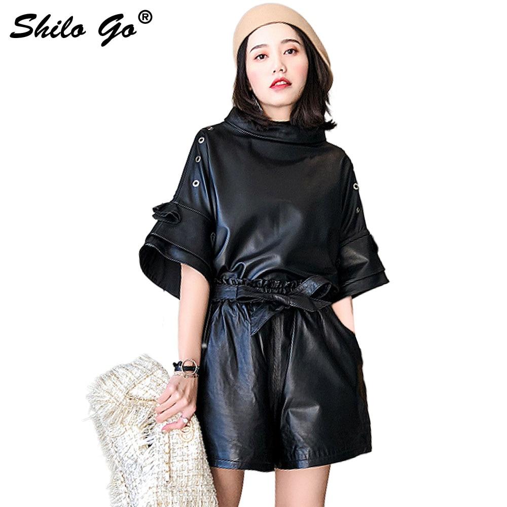 SHILO GO Leather Shorts Womens Spring Fashion Sheepskin Genuine Leather Shorts Bow Belt  Stretch High Waist Loose Wide Leg Short