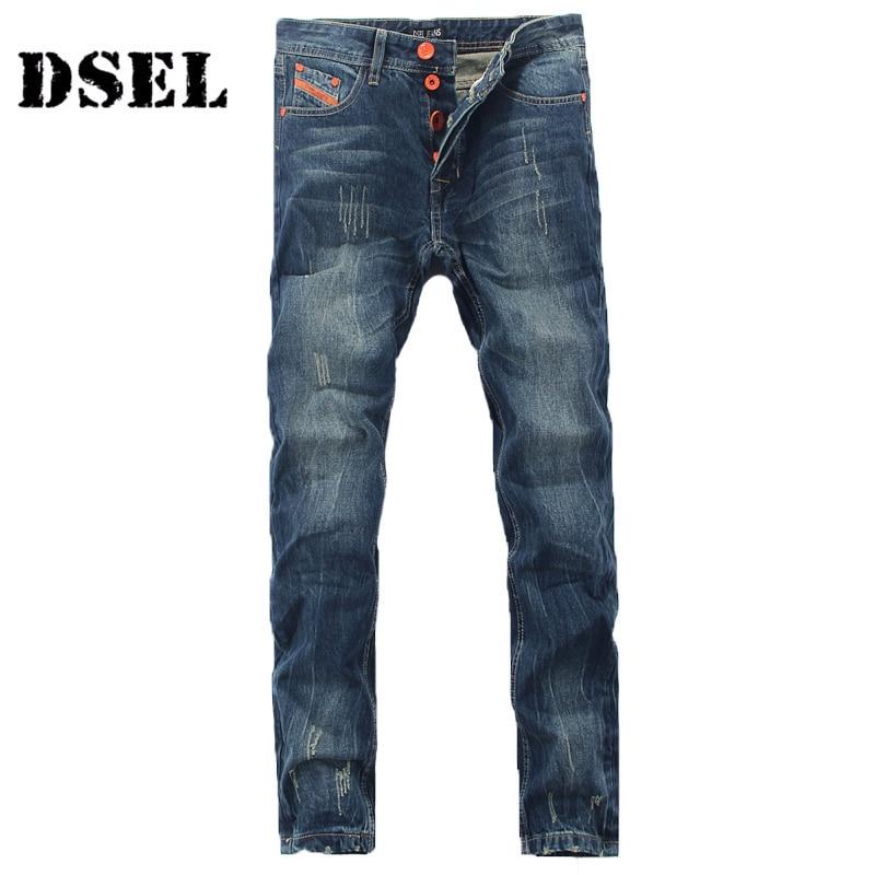 DSEL Brand Men Jeans High Quality Dark Blue Denim Stripe Jeans Mens Pants Street Buttons Ripped Biker Jeans Men Casual Trousers fashion slim straight dark jeans men mid stripe mens jeans ripped denim trousers new famous brand biker jeans a625
