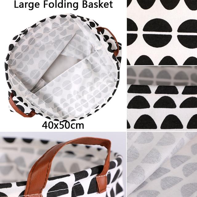1pc Folding Laundry Basket Round Storage Bin Bag Large Hamper 4