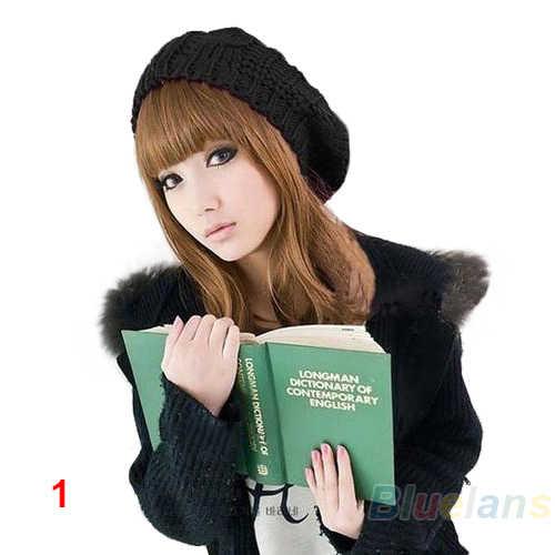 Nuove Donne di Modo della Signora Beret Intrecciata Baggy Beanie Del Crochet Warm Winter Hat Cap Maglia Di Lana 0J3Z 9CD3