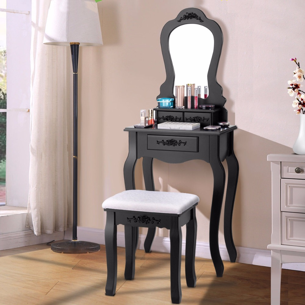 Giantex Wood Makeup Dressing Table Stool Set Jewelry Desk Drawer Mirror Black Home Furniture HW52951BK giantex black tri folding mirror vanity makeup dressing table stool set modern home bedroom furniture with 4 drawers hw55563bk