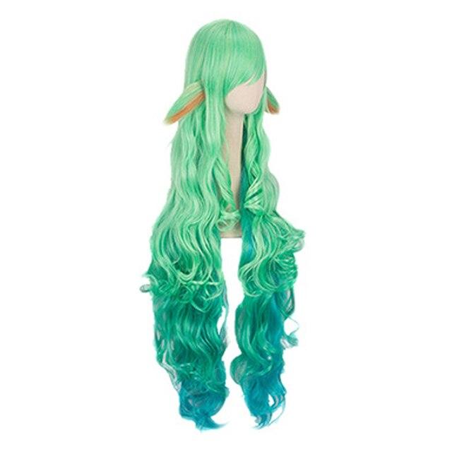 100cm Wig LOL Soraka Star Guardian Game Cosplay Women Wig Carnival Masquerade Girls Green Long Hairs League of Legends 2