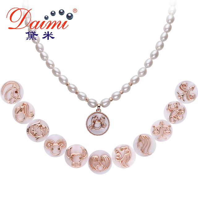 DAIMI Twelve Constellations Fine Natural Pearl & Romantic Pendant Necklace 2015 New