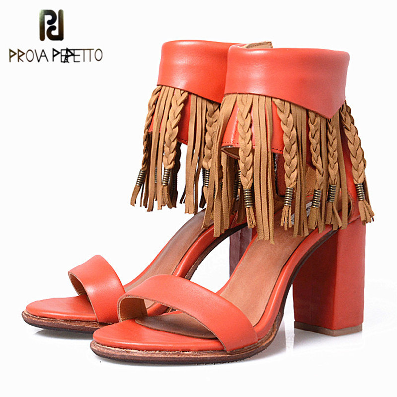 Prova Perfetto Summer New Design Thick Bottom Genuine Leather Sandals Zipper-side Chunky High Heel Shoes With Ankle Wrap trendy women s sandals with chunky heel and zipper design