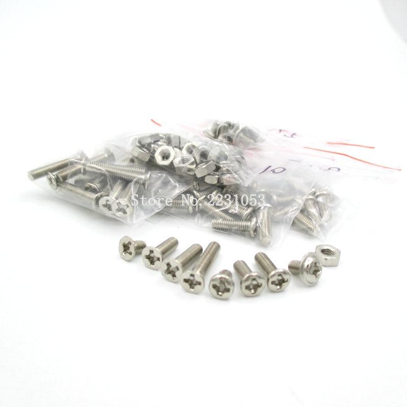цена на 140PCS/LOT M3 Cap/Button/Flat Head Hex Socket Screws Bolt With Hex Nuts Assortment Kit 3*5mm - 3*16mm Screw Set