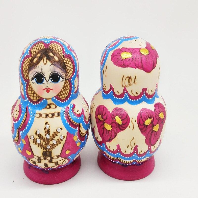 10 pcs Pintados À Mão Bonecas Do Assentamento do Russo De Madeira Babushka Matryoshka Dolls Presente YH-17