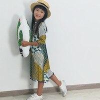 Girls Clothes Summer Dress Kids Clothes Three Quarter Sleeve Dresses Bohemian Beach One Piece Printing Children