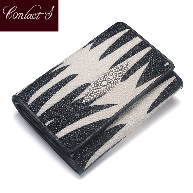 Genuine Leather Lady Wallet Pearl Fish Skin Women Leather Purse Middle  Tri-fold Money Bag aa642d07c