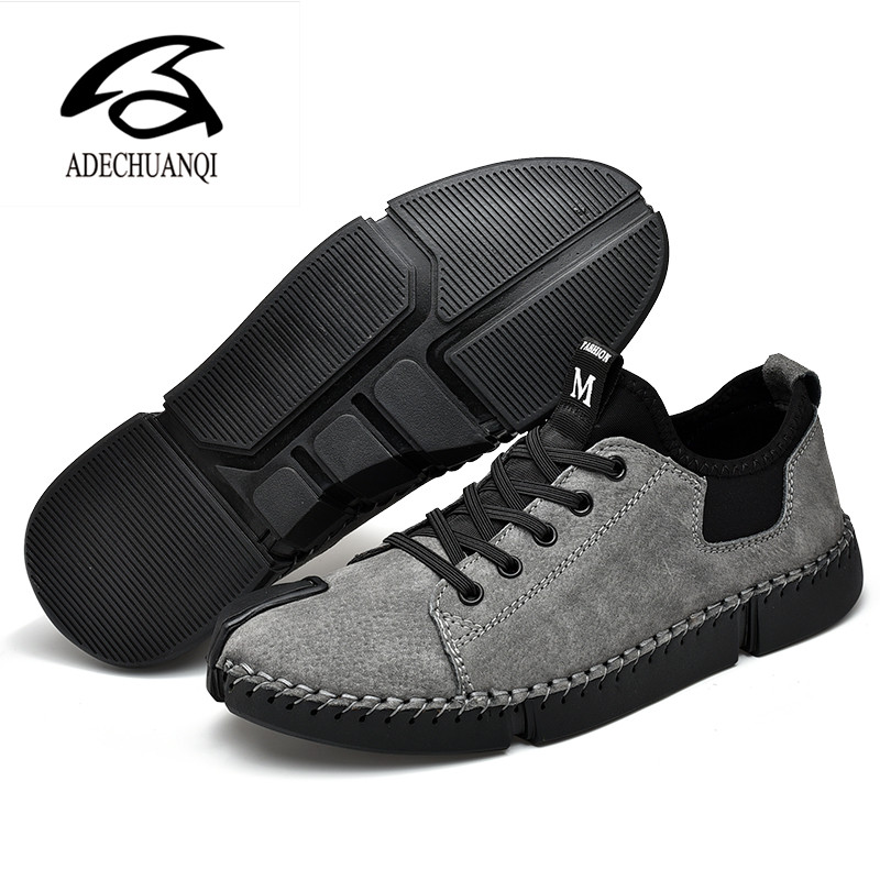 New Men Casual Breathable Soft Handmade Leather Shoes Adult Driving Shoes Comfortable Men's Outdoor Sneakers Size 38-46