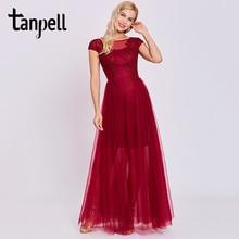 Tanpell appliques long evening dress burgundy short sleeves floor length a line gown cheap women scoop prom formal