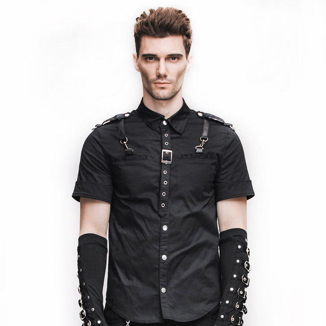 Devil Fashion Short Sleeve Turn-down Collar Mens Shirt Steampunk Gothic Pattern Singl\e Breasyed Casual Shirts Plus Size XXXL