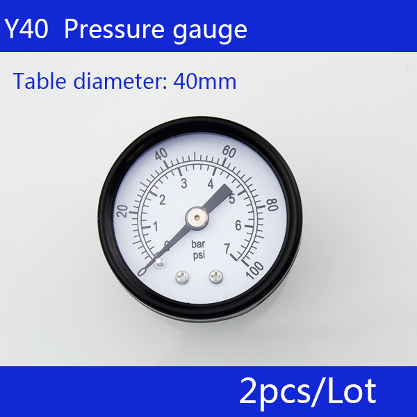Free Shipping 2pcs small pressure gauge Y40 axial pressure gauge, thread 1/8, measuring range 1MPa  цены