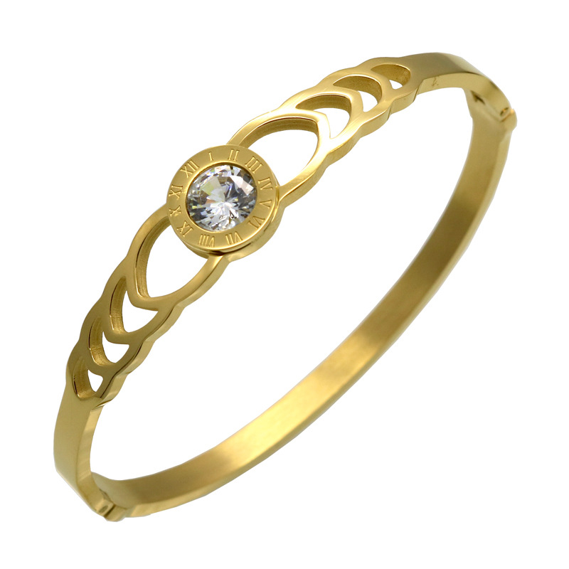 Enamel bracelet women gold bangle zircon fashion titanium steel bracelet