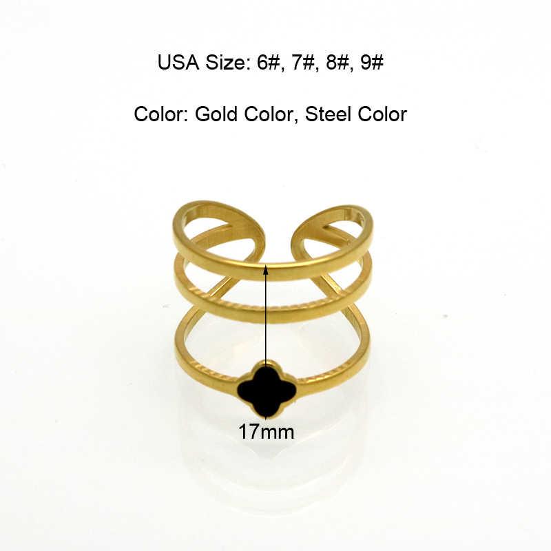 خمر الذهب اللون أنيل الأسود المينا محظوظ البرسيم خواتم 316L خاتم من الإستانليس ستيل خواتم للنساء المجوهرات بالجملة anillos