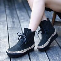 Artmu/оригинальные женские ботинки в английском стиле в стиле ретро, Ботинки martin из натуральной кожи ручной работы, ботильоны на платформе, че