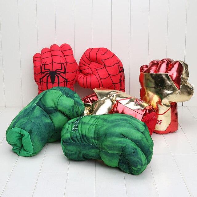 26 cm Vingadores de Super-heróis Cosplay Verde Incrível Hulk homem de ferro homem aranha Mãos Quebra Luvas De Pelúcia brinquedos de pelúcia