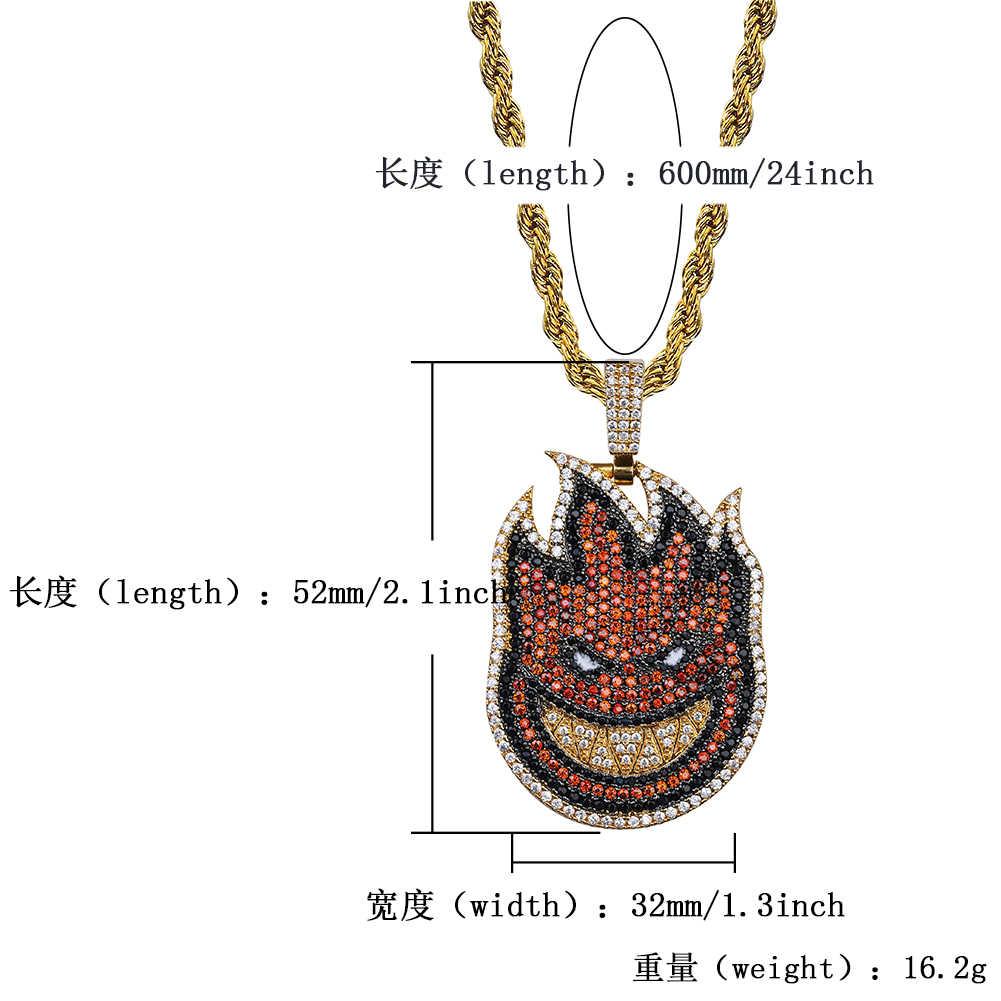 JINAO nowy płomień chłopiec Spitfire naszyjnik Iced Out łańcuch złoty kolor z łańcuchem tenisowym z Cubic cyrkon Hip hop Rock biżuteria