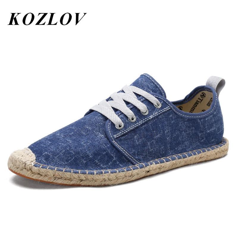 KOZLOV Summer Canvas Shoes Men Plimsolls Designer Espadrilles 2018 Fashion Fisherman Breathable Lace Up Shoes Casual Alpargatas 1