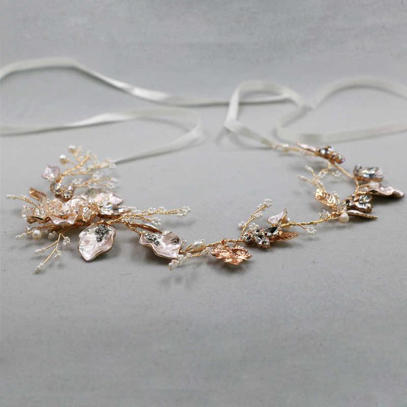 Złote liście diadem akcesoria do włosów perły ślubne opaski akcesoria do włosów ślubne biżuteria urok chluba peruki imprezowe ozdoby