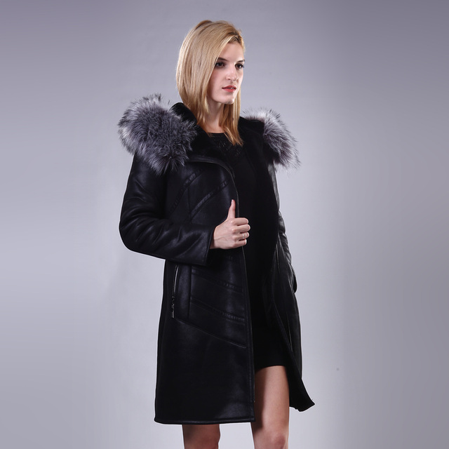 Double Genuine leather Fox Fur Collar Lady suit Long section coat Fashion new style can be customized Faux leather suede Plush