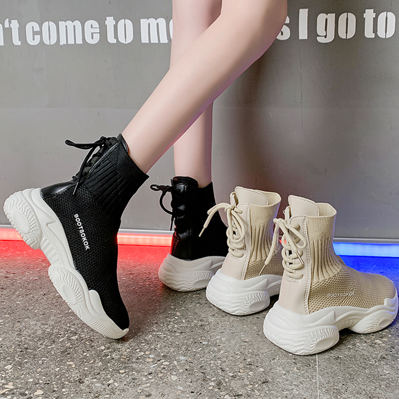 Sock Sneaker Women Autumn 2019 New High Top Sneakers Women Fashion Breathable Black Platform Shoes White Chunky Sneakers Ladies