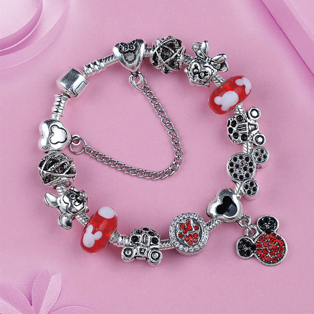 bf2ad6266 2019 Vintage Silver Mickey Minnie Diy Beads Pandora Bracelets Bangle Red  Crystal Glass Charm Bracelet for Fashion Jewelry Making