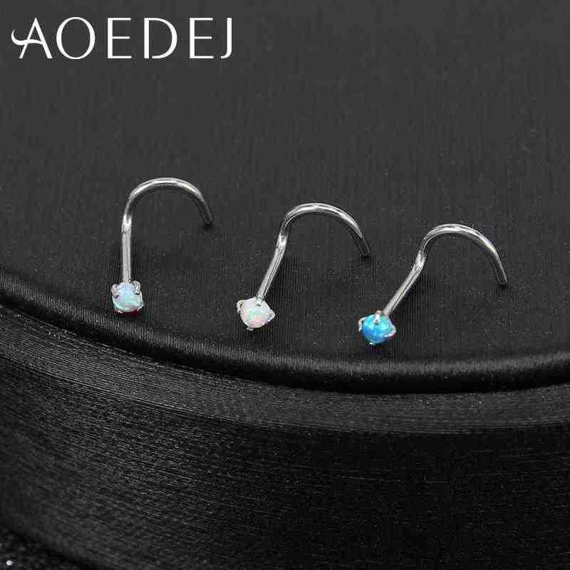 AOEDEJ 3 шт. 1 лот 20 г нержавеющая сталь Опал Камень нос шпильки ноздри пирсинг носа кольцо ювелирные изделия для тела несколько форм носа шпильки