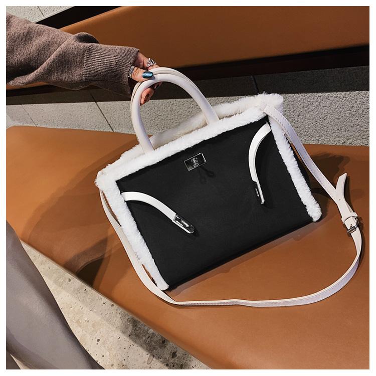 Korean handbag large capacity bucket hand bag designer big tote designer Fur women messengerc winter shopping wool no lock 103