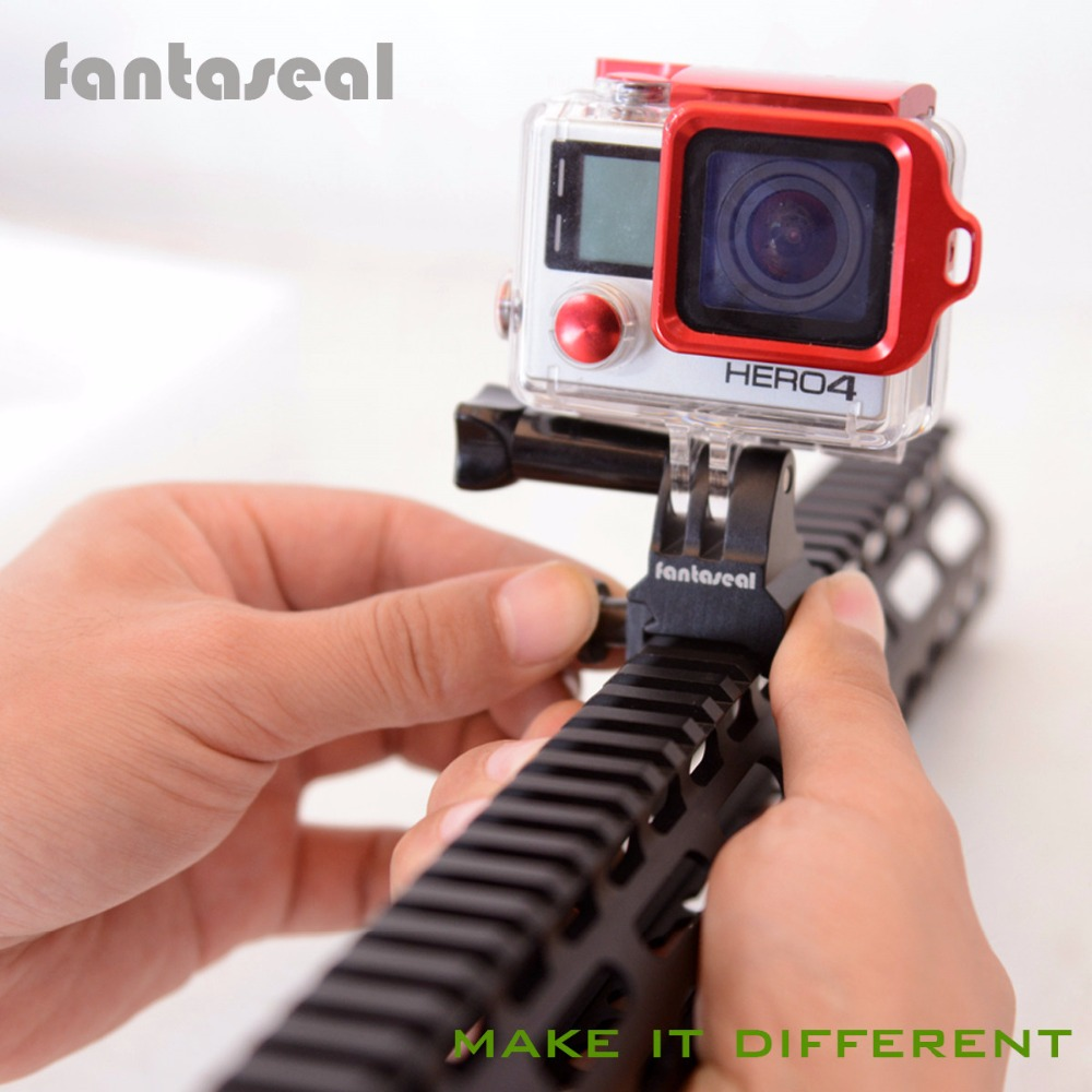 Fantaseal Picatinny Gun рэйку Airsoft Gun драбавік адаптар для GoPro 7 6 5 SJCAM Xiaomi Yi Sony Action Camera Gun Adapter