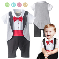 2016 New Baby Boys Gentleman Rompers Toddlers Red Bow Tie Short Sleeve Jumpsuit Newborn Tuxedo Infant