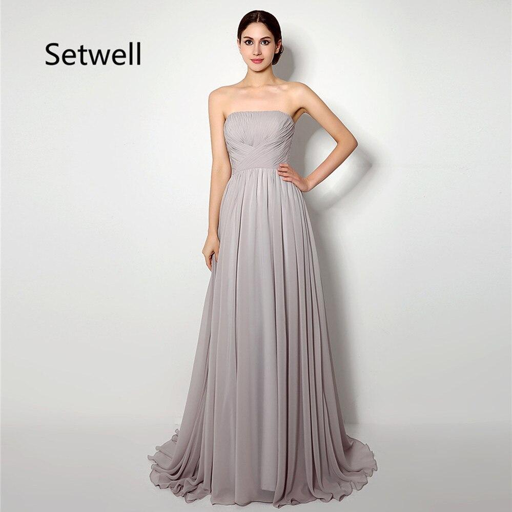 Setwell robe de demoiselle d'honneur en mousseline de soie Simple robes de mariée à lacets robe de demoiselle d'honneur d'été sur mesure