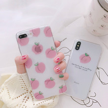 Fruits Juicy Peach Phone Case For iPhone XS Max XR Cute Pink Clear Siicone Back Cover 6 6s 7 8 Plus Cases