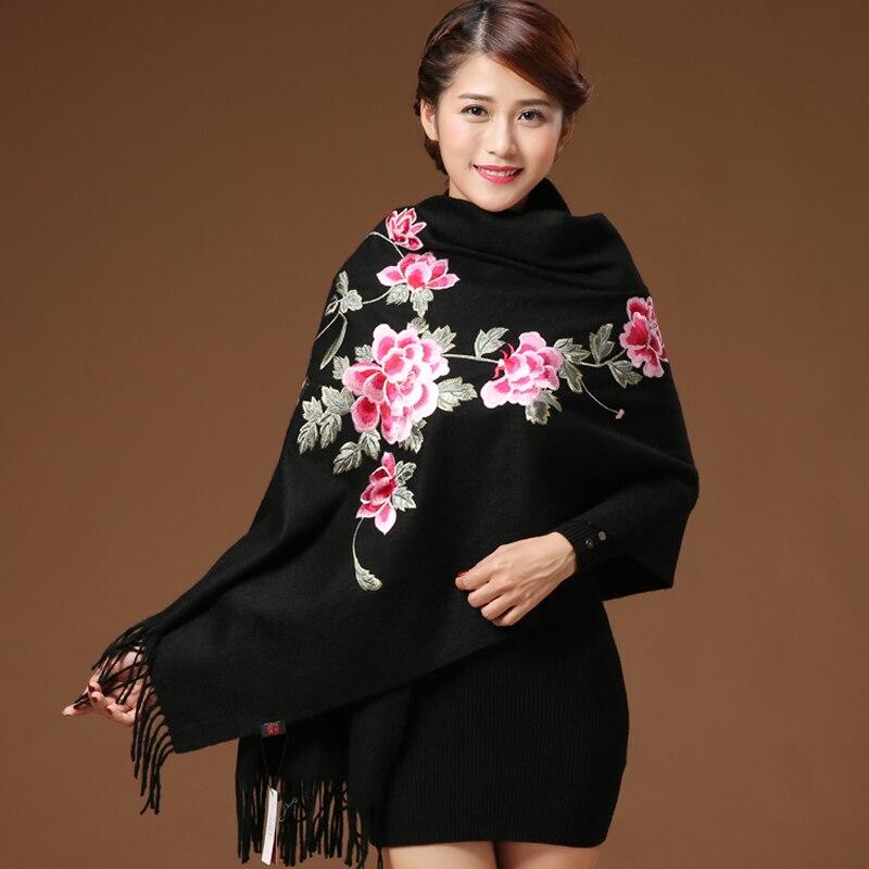 Women Cashmere Tassel Scarves Floral Flowers Embroidery Pashmina 200*70 Cm Long Soft Wraps Warm Female Winter Shawls