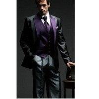 Новый уголь и фиолетовый арабский Свадебный костюм для мужчин Жених Смокинги дружки Жених костюм куртка + брюки + жилет мужские костюмы