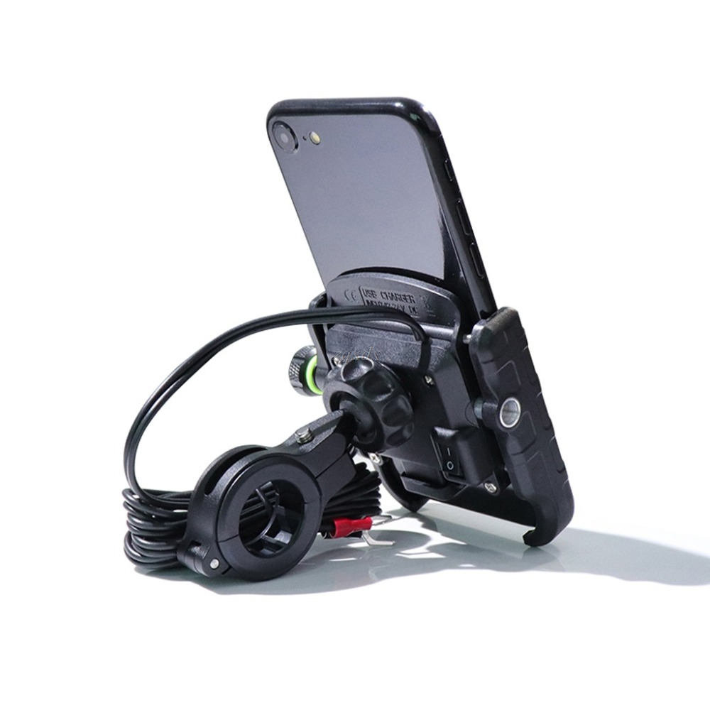 Motorbike 360 Degree Motorcycle Handlebar Mirror Cell Phone Mount Holder with QC 3.0 USB Charger for iPhone Samsung Xiaomi Phone
